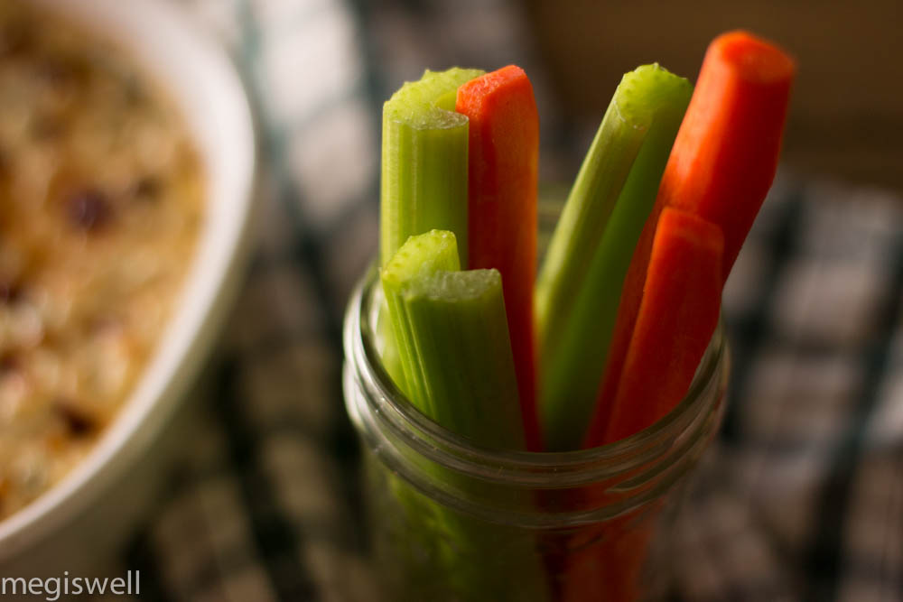 Carrots and celery served as dipping sides
