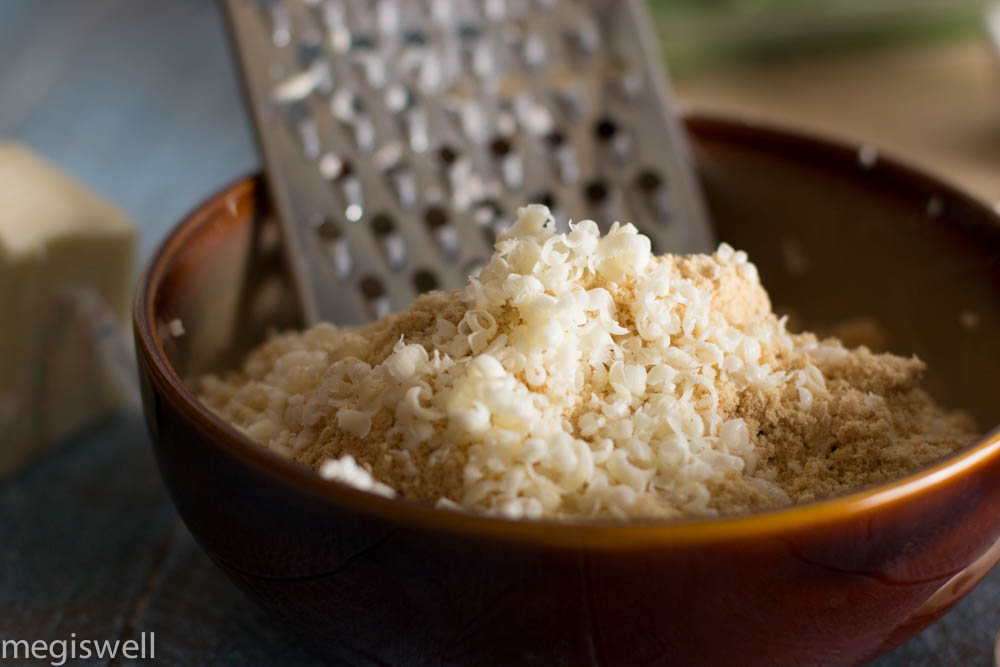 Grate frozen butter into flour mixture