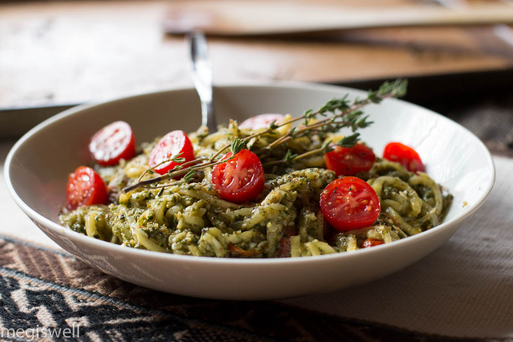 Pesto and Roasted Cherry Tomato Veggie Pasta