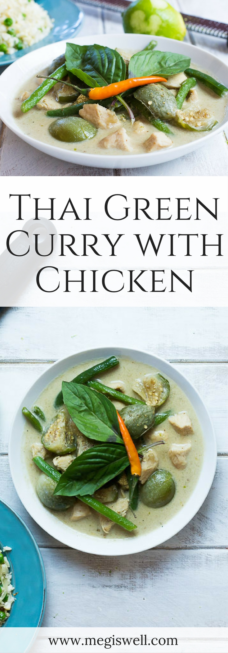 Thai Green Curry with Chicken is spicy, slightly sweet, and fresh tasting. Thai eggplants absorb the curry flavor while green beans provide a slight crunch. Served with a side of cauliflower rice, you have a perfect healthy meal. | www.megiswell.com