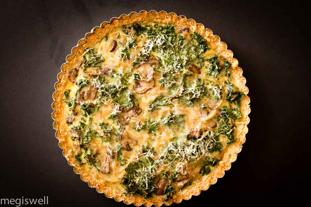 kale, onion, and mushroom quiche