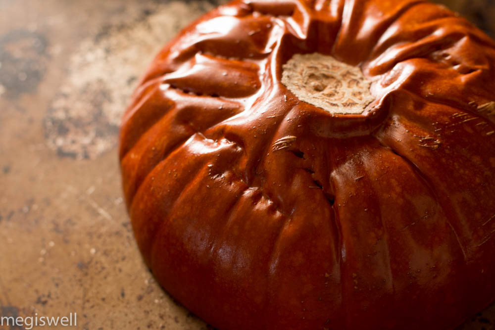 Deflated and done pumpkin ready to be pureed