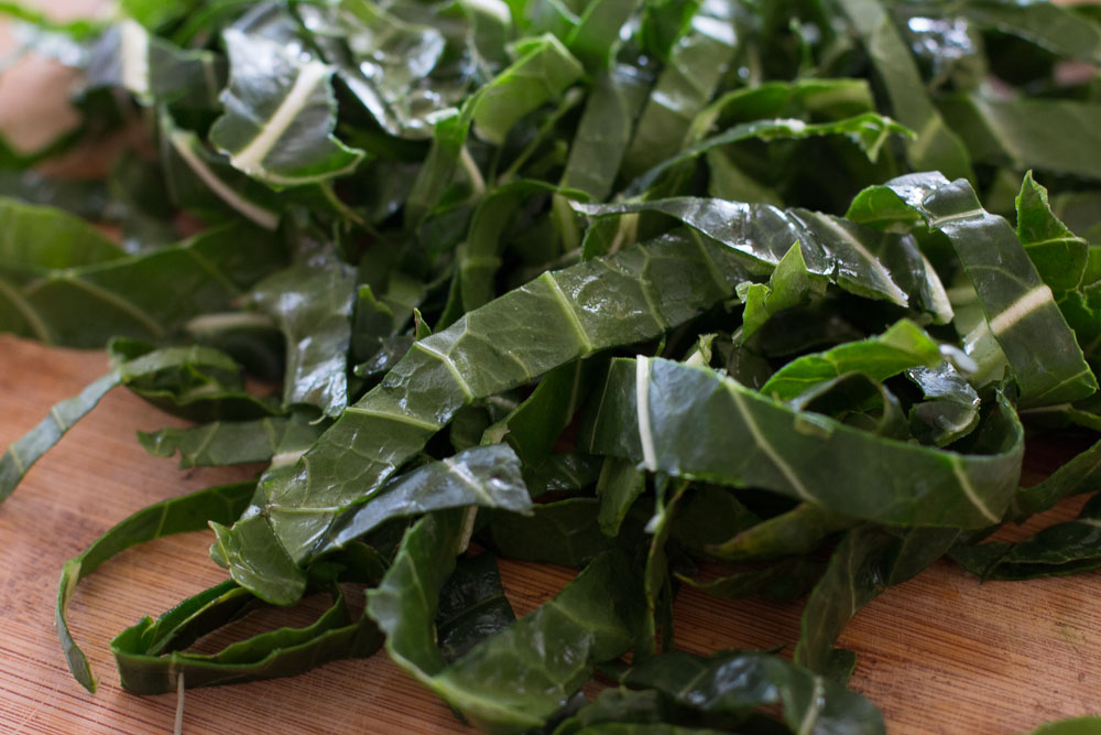 Collard greens thinly sliced and with the stems removed