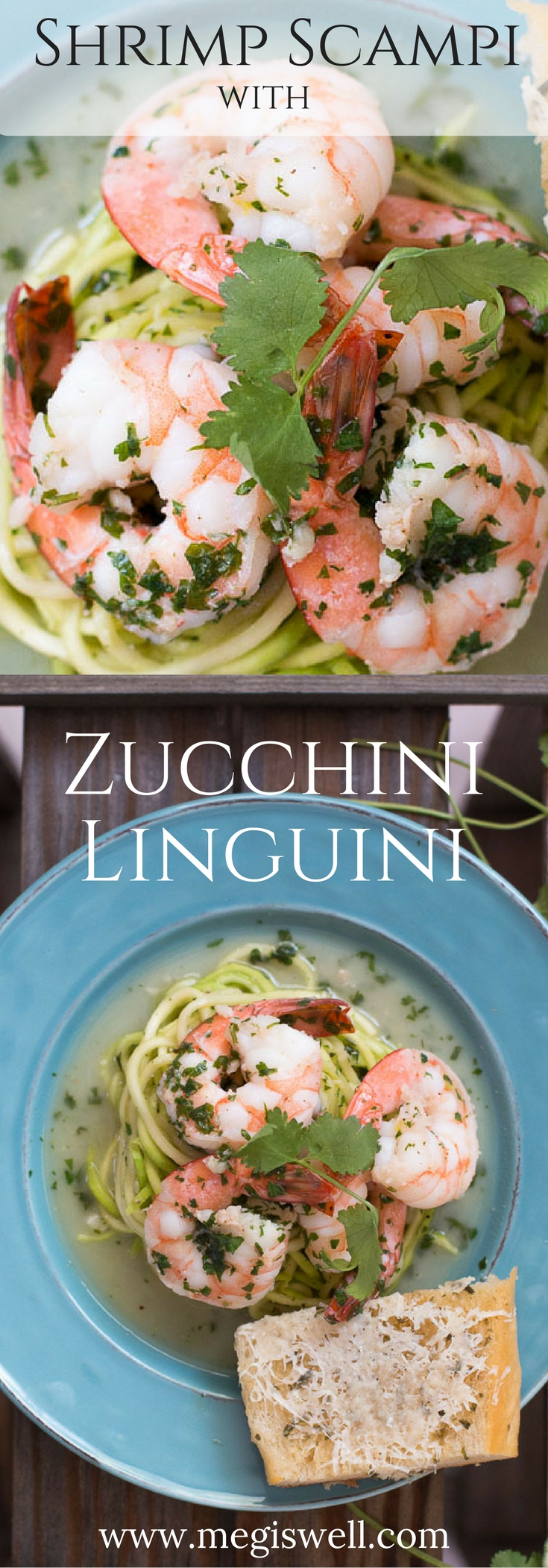 This Shrimp Scampi with Zucchini Linguini is super light and easy but feels fancy. Bursts of cilantro and lime make this a great fresh meal to serve on a hot day with a glass of chilled wine. | www.megiswell.com