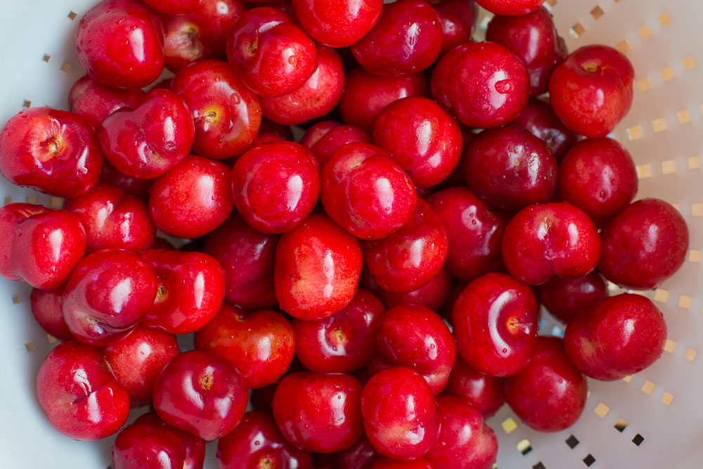 freshly washed cherries from the farmers market.