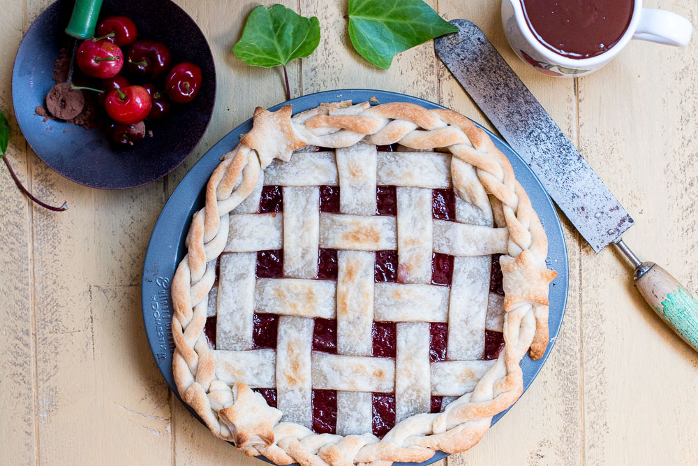 Crazy for Coco Cherry Pie with a Bailey's Chocolate-Coffee Drizzle Sauce