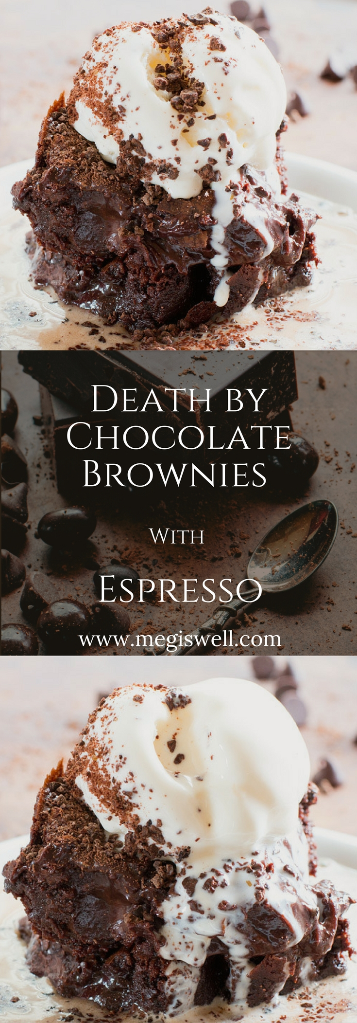 There is so much chocolate in these Death by Chocolate Brownies with Espresso you could die. Only to be revived again by espresso. Chocolate covered espresso beans are ground up into a fine powder, used in both a brownie and fudge batter, and sprinkled on top of the ice cream. Then right before serving, hot freshly brewed espresso is poured on top of everything. | www.megiswell.com