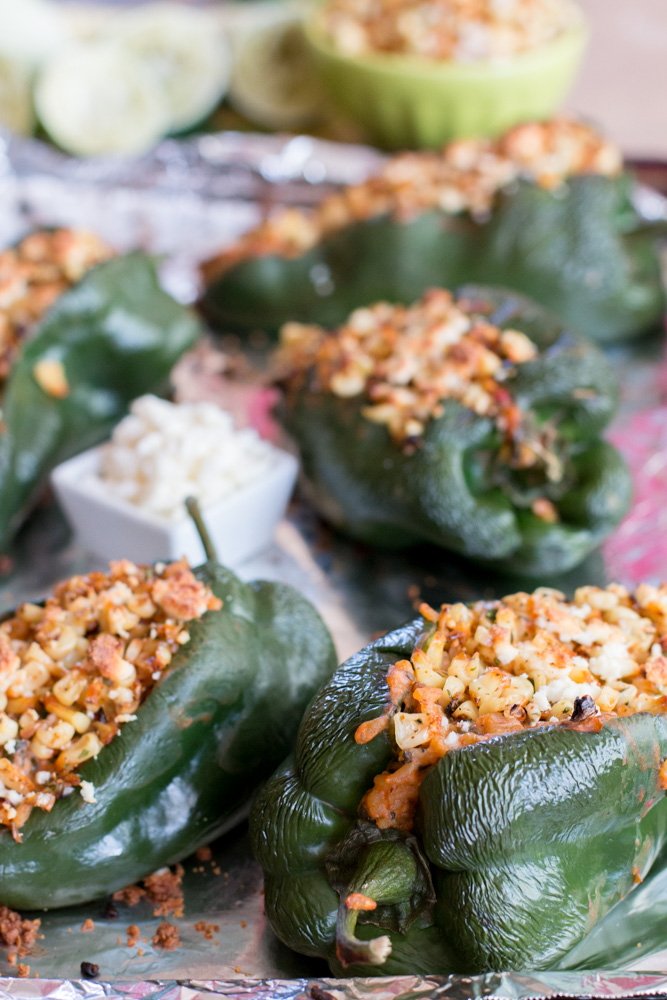 Mexican Corn Salad with Goat Cheese and Veggie Stuffed Poblanos | www.megiswell.com