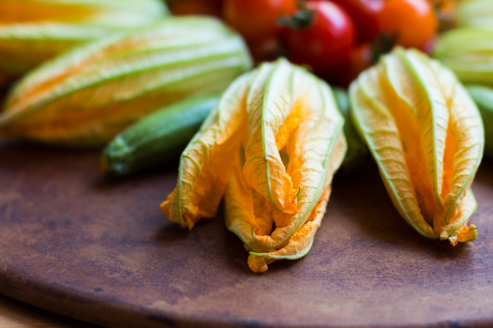 Burrata Stuffed Zucchini Blossoms with a Cherry Tomato and Nectarine Salsa | www.megiswell.com