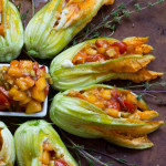Burrata Stuffed Zucchini Blossoms with a Cherry Tomato and Nectarine Salsa