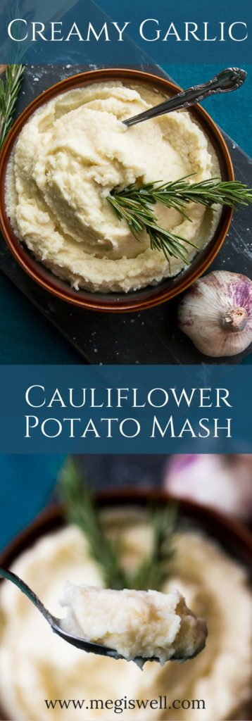Cauliflower keeps this Creamy Garlic Cauliflower Potato Mash light while a little potato adds that satisfying creamy thickness of traditional mashed potatoes. Butter is infused with garlic to add amazing flavor to this Thanksgiving side dish.   www.megiswell.com