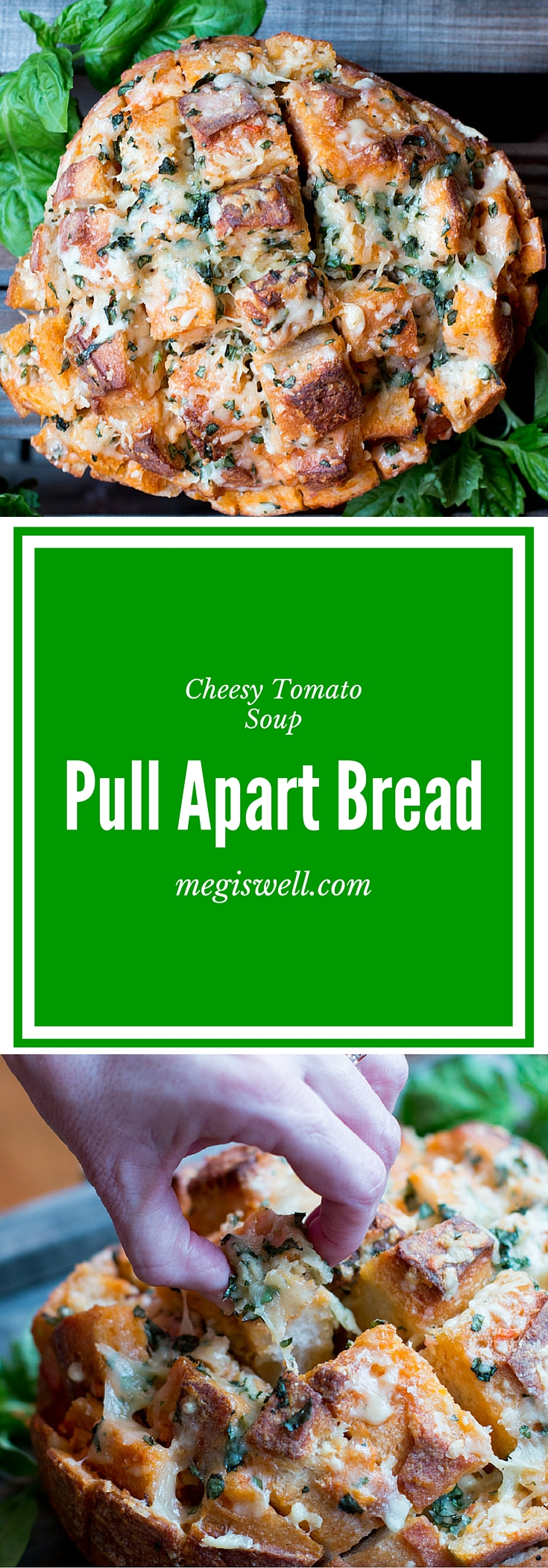 Cheesy Tomato Soup Pull Apart Bread. Tomato soup leftovers, melted butter, crushed garlic, 3 types of cheese, and fresh basil combine in glorious bite sized portions in this easy appetizer.