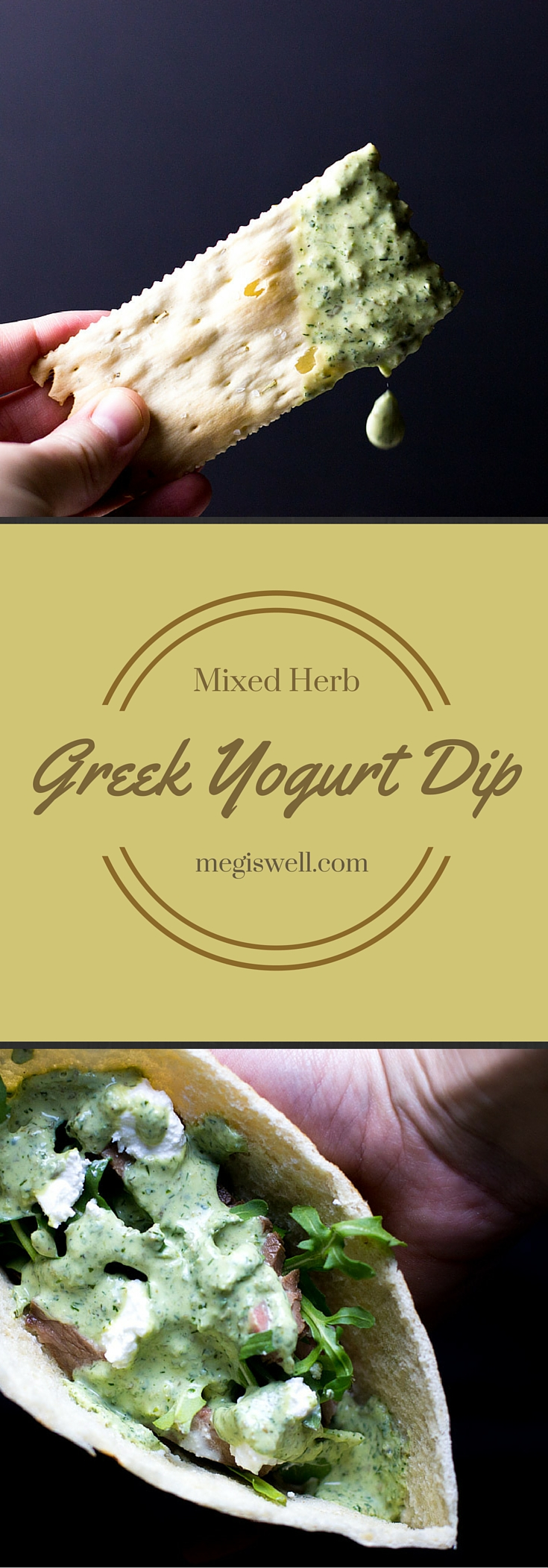 Mixed Herb Greek Yogurt Dip. Basil, mint, and dill combine with lemon juice, capers, and greek yogurt to make an easy and healthy addition to snack time.