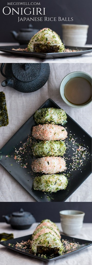 These onigiri (Japanese Rice Balls) have lightly seasoned rice containing Spicy Kimchi Tuna or Salmon Furikake and are topped with furikake seasoning. | Snacks | Packed Lunches | Picnics | Seaweed | Hand Food | www.megiswell.com