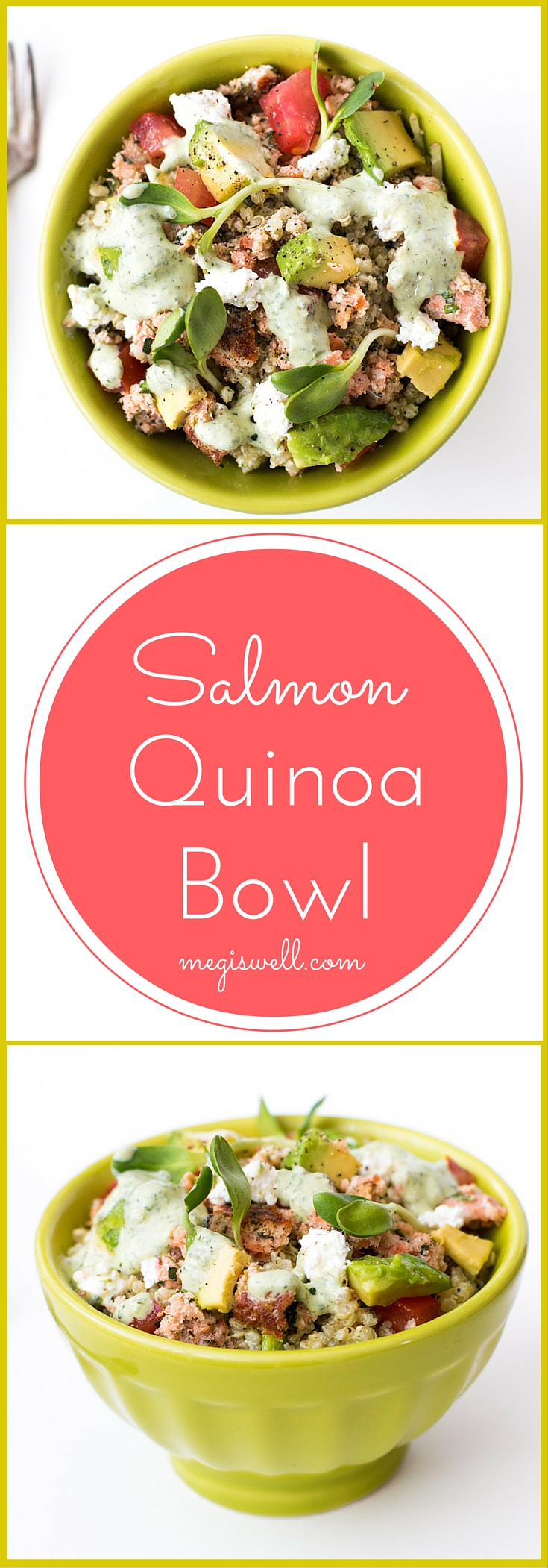 Salmon Quinoa Bowl. Quinoa, salmon, diced tomatoes & avocado, sunflower sprouts, crumbled feta cheese, and a Mixed Herb Greek Yogurt dressing make a high protein, filling, and healthy meal with great flavors and textures.