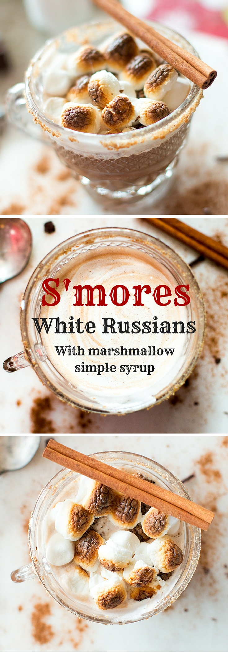 These S'mores White Russians are seriously decadent. Forget dessert. These are dessert AND an alcoholic beverage. Vodka, Kahlua, spiced marshmallow simple syrup, semi-sweet chocolate, and roasted marshmallows all combine to make a warm and toasty drink that will leave you feeling a little tipsy.