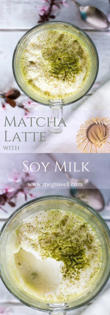 Steamed and frothed soy milk, lightly sweetened with honey, make this Matcha Latte with Soy Milk a cheaper and better tasting version than what you can get in a café. | Homemade | Hot | Matcha Powder | Green Tea | #matchalatte | www.megiswell.com