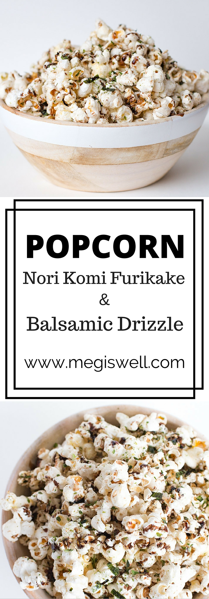 Nori Komi Furikake and Balsamic Drizzle Popcorn is an addicting snack with the perfect mix of sweet and salty flavors in each bite.