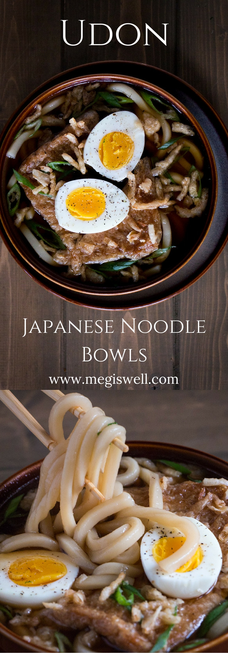 Udon is a simple combination of fat bouncy noodles and broth made from dried kelp and dried smoked tuna that creates a fast and easy meal full of umami flavor. | www.megiswell.com