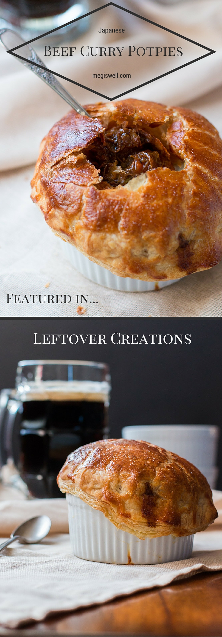 Individual Japanese Curry Potpies. The comfort of Japanese Beef Curry is fused with potpies and the results are amazing.