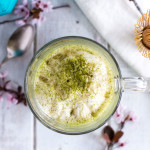 Steamed and frothed soy milk, lightly sweetened with honey, make this Matcha Latte a cheaper and better tasting version than what you can get in a café.