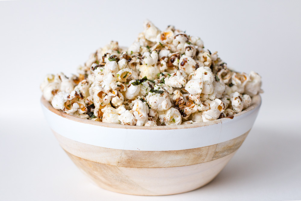 Homemade Popcorn with Nori Komi Furikake and Balsamic Drizzle is an addicting snack with the perfect mix of sweet and salty flavors in each bite.