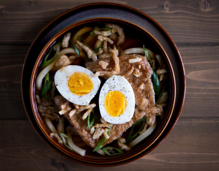 Udon is a simple combination of fat bouncy noodles and broth made from dried kelp and dried smoked tuna that creates a fast and easy meal full of umami flavor.
