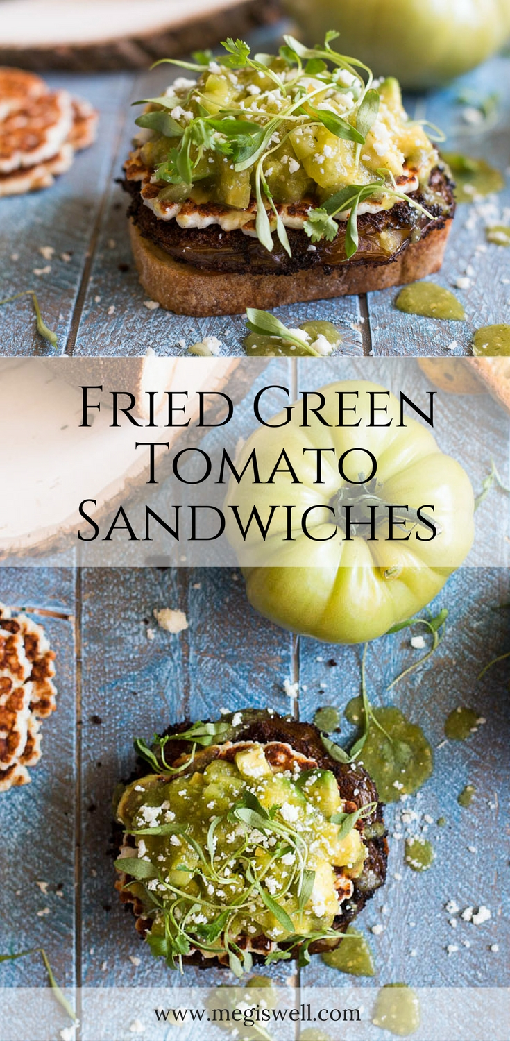 These Fried Green Tomato Sandwiches are topped with pan-fried cotija cheese, tomatillo salsa, and cilantro micro greens to make a deliciously fun and filling vegetarian sandwich. | www.megiswell.com