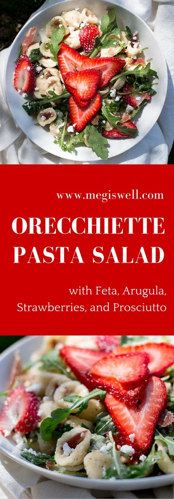 Learn how to make an awesome cold Orecchiette Pasta Salad, which has a salty and peppery kick with a slight sweet tang. | #pastasalad #picnic recipe | www.megiswell.com