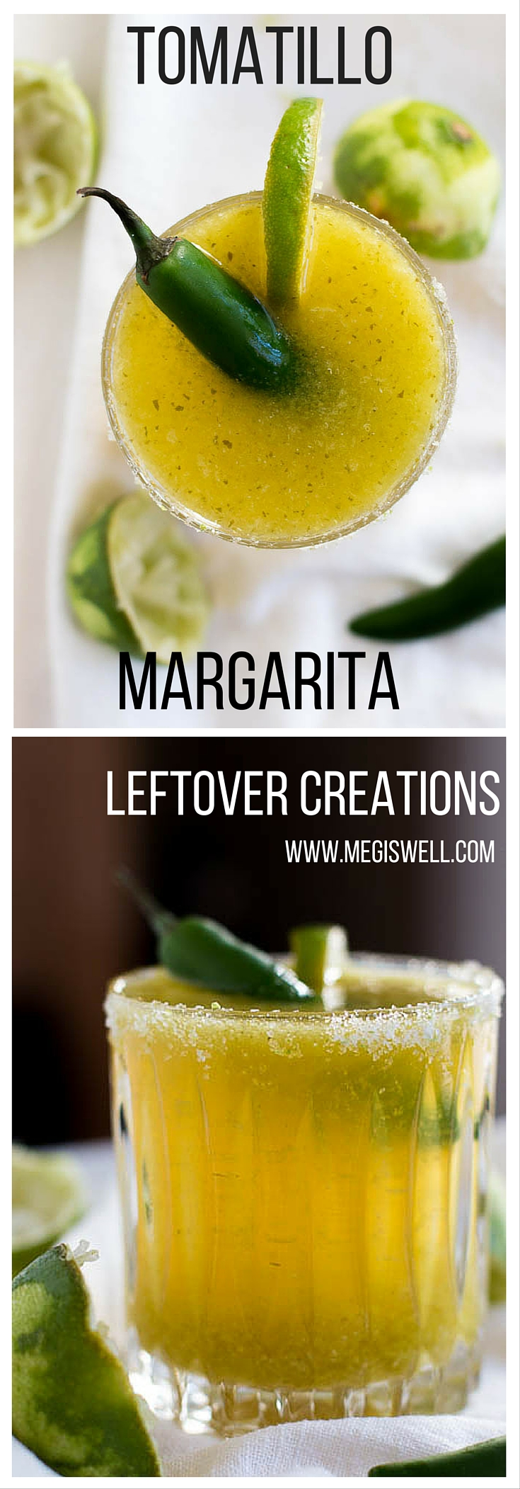 Turn your leftover tomatillo salsa into a tasty Tomatillo Margarita, giving the classic margarita a spicy twist.