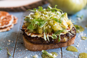 These Fried Green Tomato Sandwiches are topped with pan-fried cotija cheese, tomatillo salsa, and cilantro micro greens to make a deliciously fun and filling vegetarian sandwich.