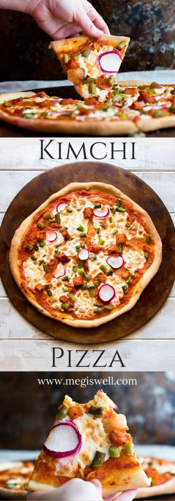 Kimchi isn't only used as a topping in this Kimchi Pizza, which has a smoky and deeply layered kimchi pizza sauce that is topped with burrata cheese, kimchi, asparagus, and freshly sliced radishes | Homemade | Pizza Sauce Recipe | Vegetarian | #kimchipizza |www.megiswell.com