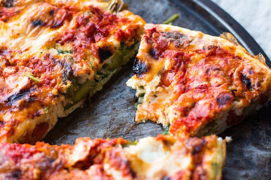 Use your leftover egg whites from baking or cooking to make a spicy Vegetable Egg White Frittata with Harissa that is light, healthy, and delicious | www.megiswell.com