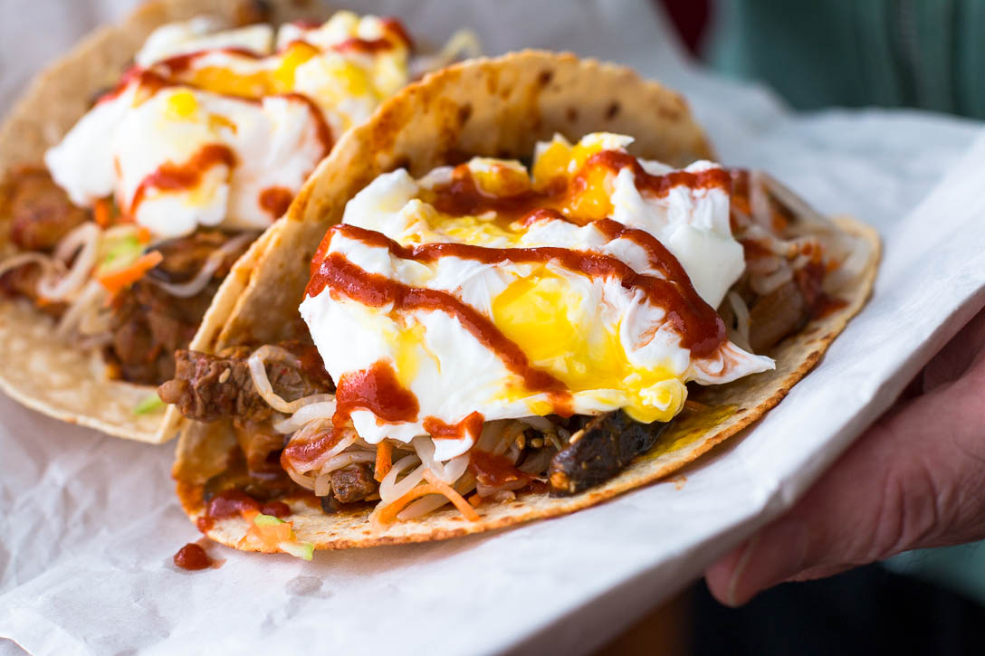<yoastmark class='yoast-text-mark'>Kimchi Tacos are a delicious fusion hand food, with pickled veggies, Kimchi Jjigae marinated meat, tortillas, and poached eggs.</yoastmark> | www.megiswell.com
