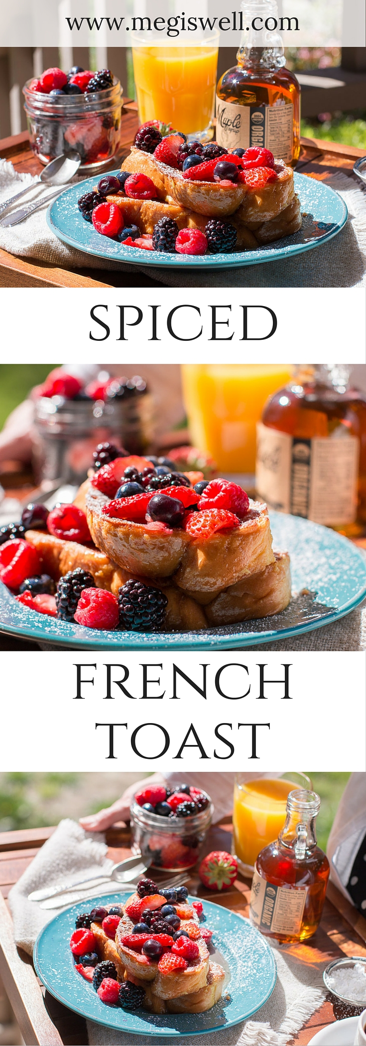 Cardamon, cloves, cinnamon, and turmeric are steeped in heavy cream to create a tasty batter for this Spiced French Toast. | www.megiswell.com