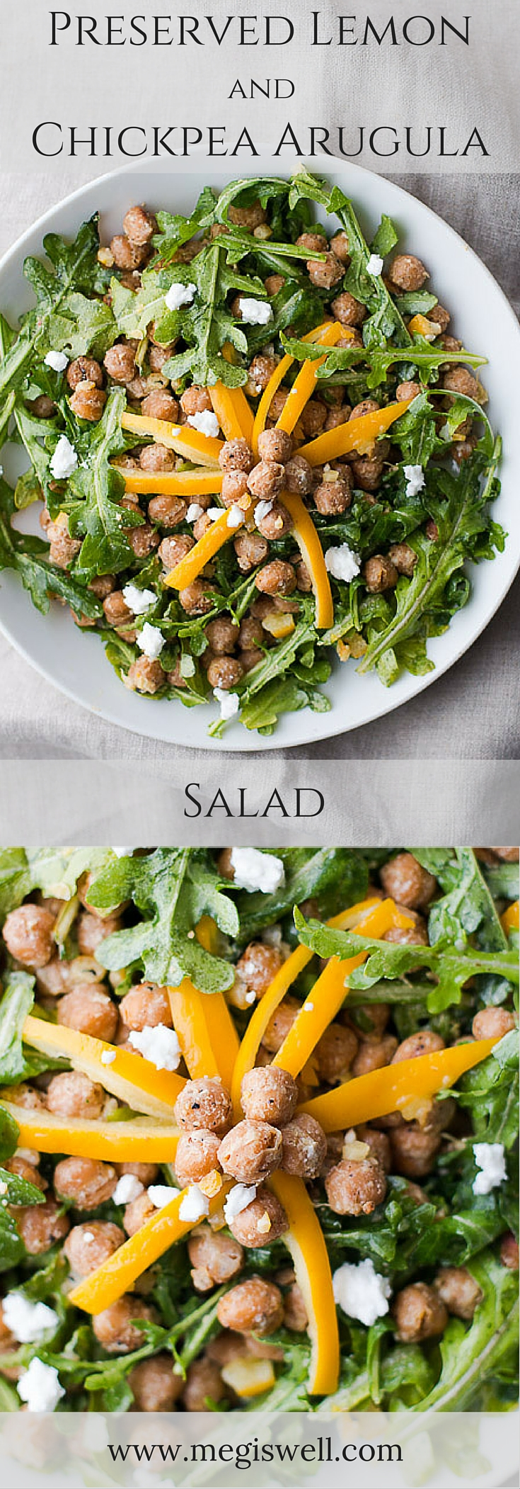Seasoned and roasted chickpeas provide flavor and protein in this Preserved Lemon and Chickpea Arugula Salad while preserved lemons and feta lightly coat the arugula for a healthy and quick salad. | www.megiswell.com