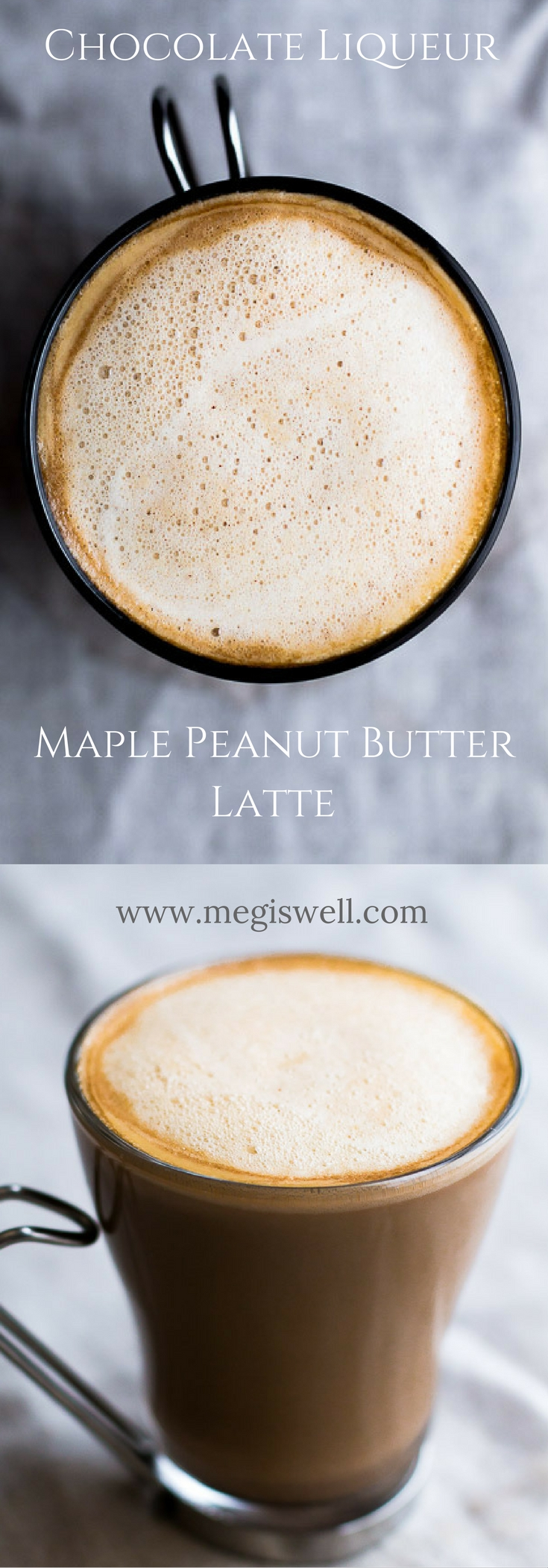This Chocolate Liqueur Maple Peanut Butter Latte is a great after dinner digestif drink. The sweet maple and peanut butter syrup and chocolate liqueur pair extremely well with espresso or strongly brewed coffee, and creates the sweet end that every meal needs. This post is sponsored by Drizly. | www.megiswell.com