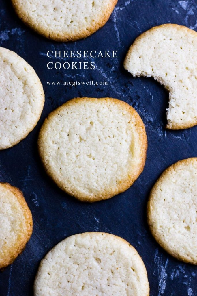 These Cheesecake Cookies have a slight tang to them, are buttery, thin, and rich - just like cheesecake! #christmascookies #holidaycookies | www.megiswell.com