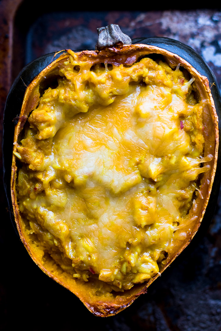 This Twice Baked Acorn Squash with Thai Yellow Curry and Chicken is extremely delicious. Yellow curry, coconut milk, shredded chicken, and jasmine rice all combine in a simple and comforting meal.   www.megiswell.com
