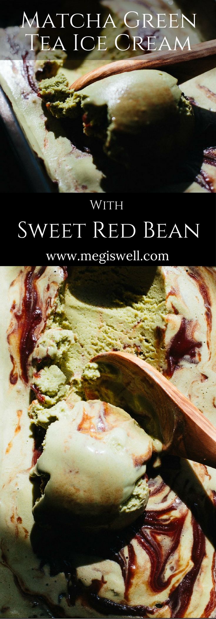 This Matcha Green Tea Ice Cream with Sweet Red Bean is creamy and soft with a definite bite of matcha tea that is tempered with the sweetness of the red bean paste.   www.megiswell.com