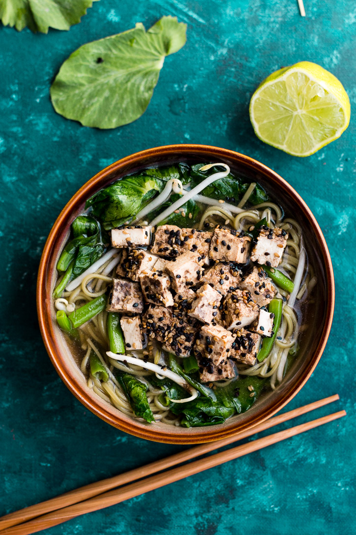Soba Noodles in Shiitake Mushroom Broth with Sesame Crusted Tofu and Pea Shoots has a simple, fast, and flavorful broth that serves as the base of this delicious, healthy, and vegetarian dish. | www.megiswell.com