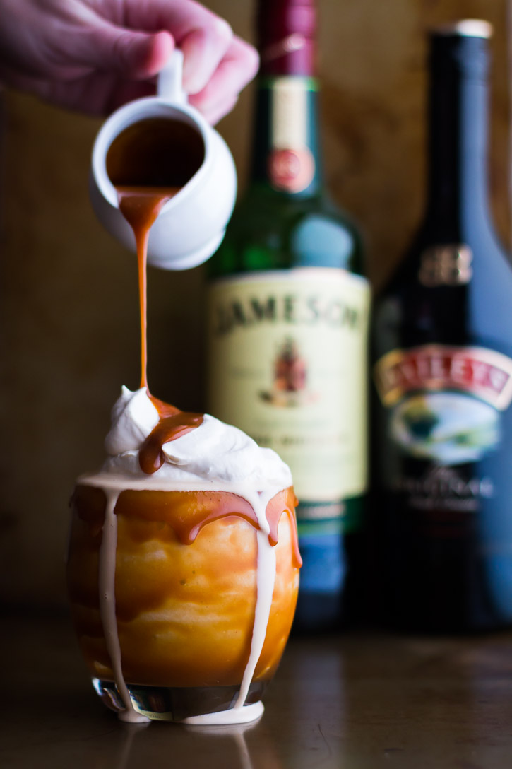 Boozy Irish Coffee Milkshake with Baileys Caramel Drizzle ...