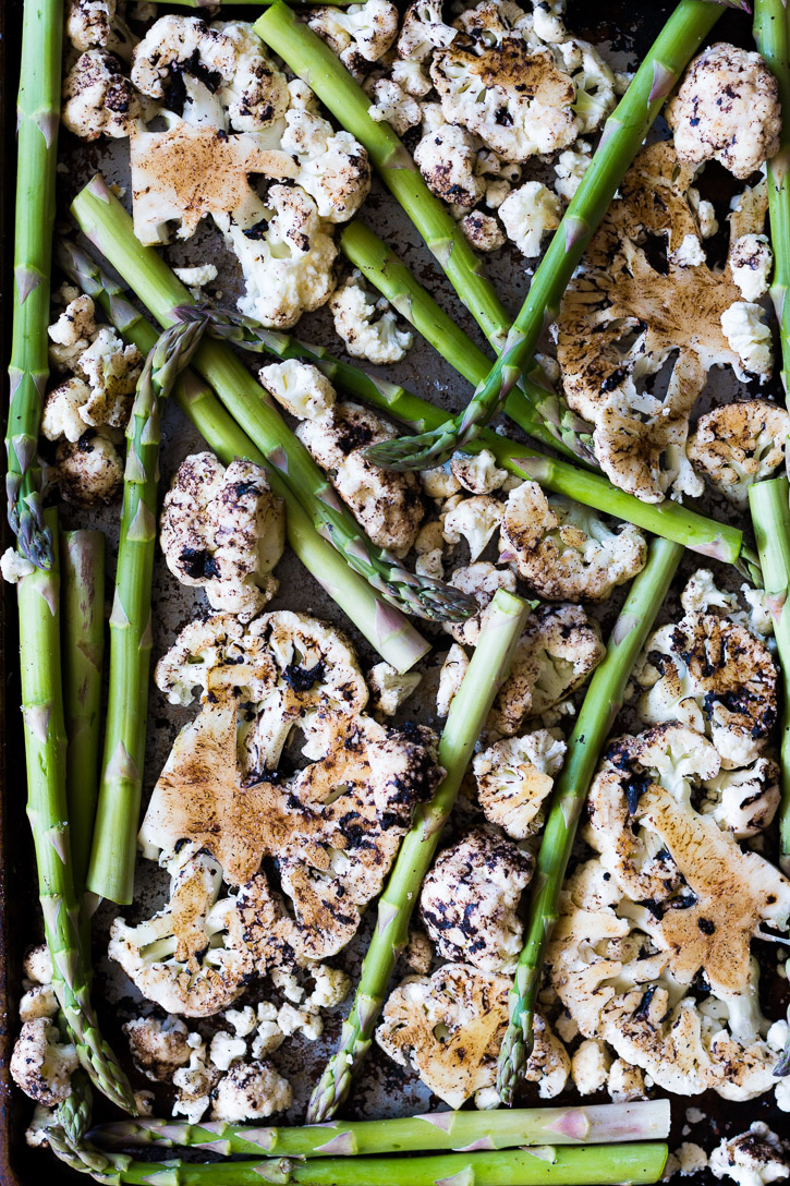 Oven Roasted Cauliflower Steaks With Black Garlic And Asparagus Is A Very  Simple And Quick One