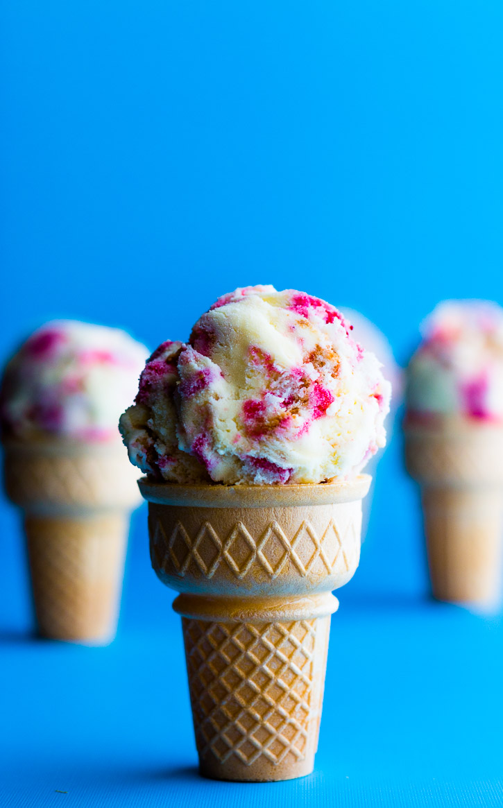 This Angel Food Cake Ice Cream recipe uses leftover egg yolks, angel food cake, and strawberry limoncello compote to make a deliciously light and fruity frozen treat. | www.megiswell.com