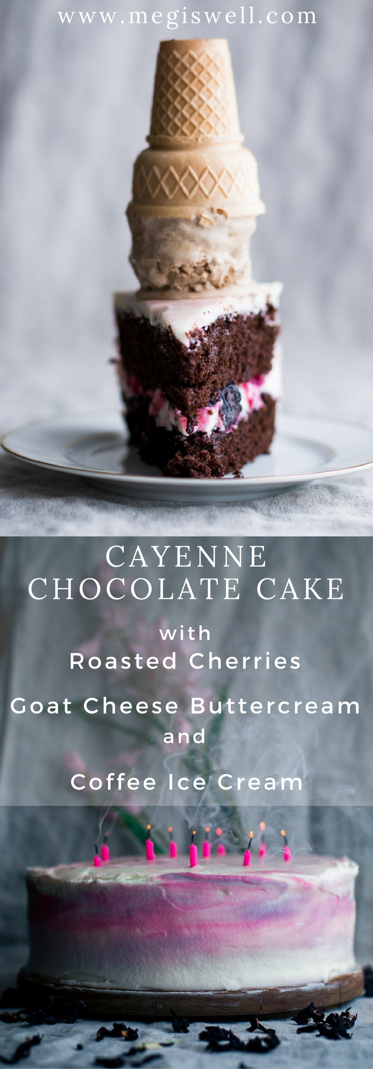 This Cayenne Chocolate Cake is an extravagant combination of moist homemade cake spiked with cayenne pepper and cinnamon and layered with roasted cherries and goat cheese buttercream. It's topped with an easy no churn Coffee Ice Cream, melding the flavors together in a trio of awesomeness inspired by Jeni's Splendid Ice Cream. | www.megiswell.com