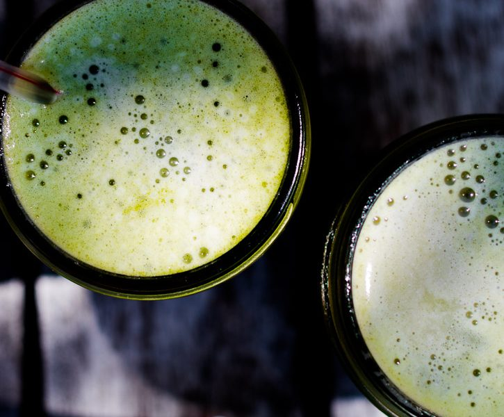 This Iced Matcha Latte is a sweet and light treat that's easily made in a mason jar for fast summer fun.   www.megiswell.com