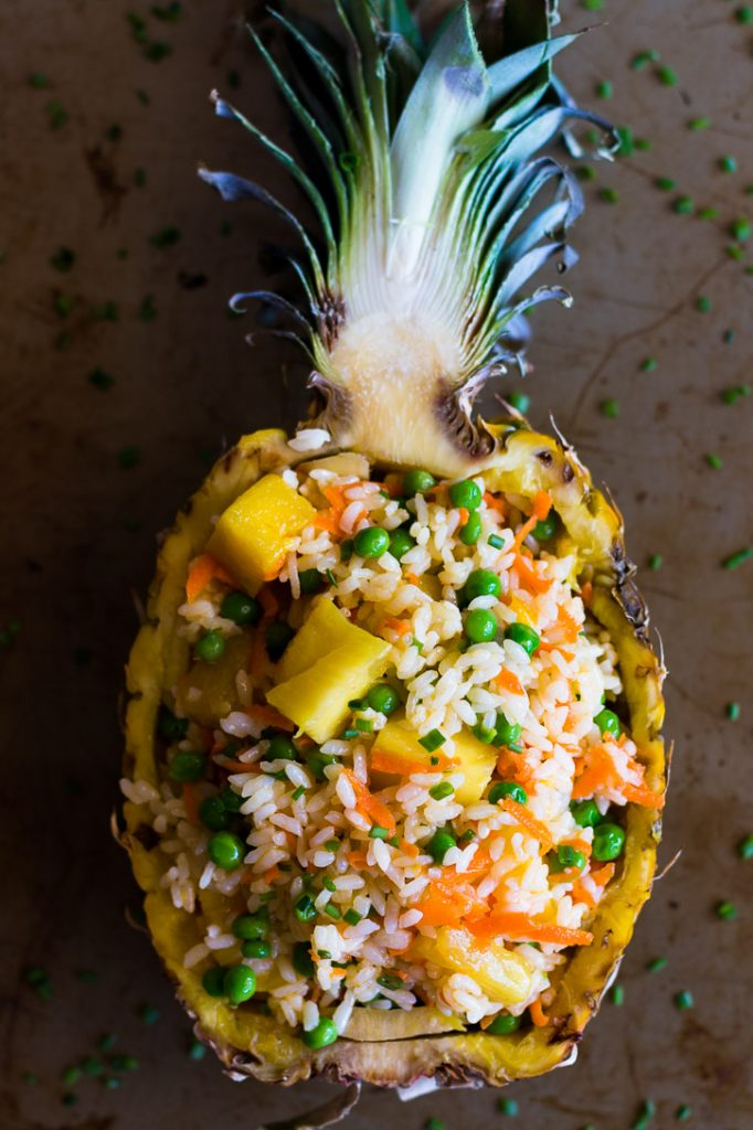 This easy No-Fry Pineapple Rice Salad is a simple side perfect for summer parties. Vegan | Vegetarian | www.megiswell.com
