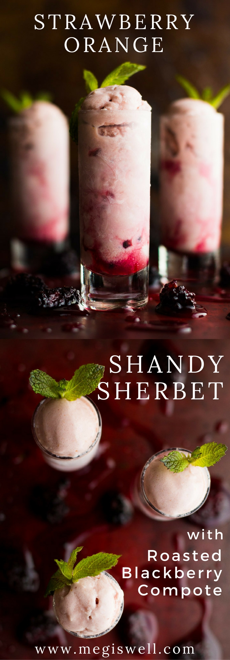 Strawberry Orange Shandy Sherbet combines a shandy beer punch, fresh fruit, and sweetened condensed milk for a great summertime icy treat. | www.megiswell.com