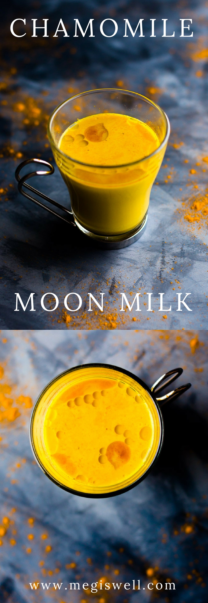 This Chamomile Moon Milk is a warm spice and herbal nighttime beverage to help relieve sleeplessness and stress. | Sleep Remedy | Stress Reliever | Soothing | www.megiswell.com