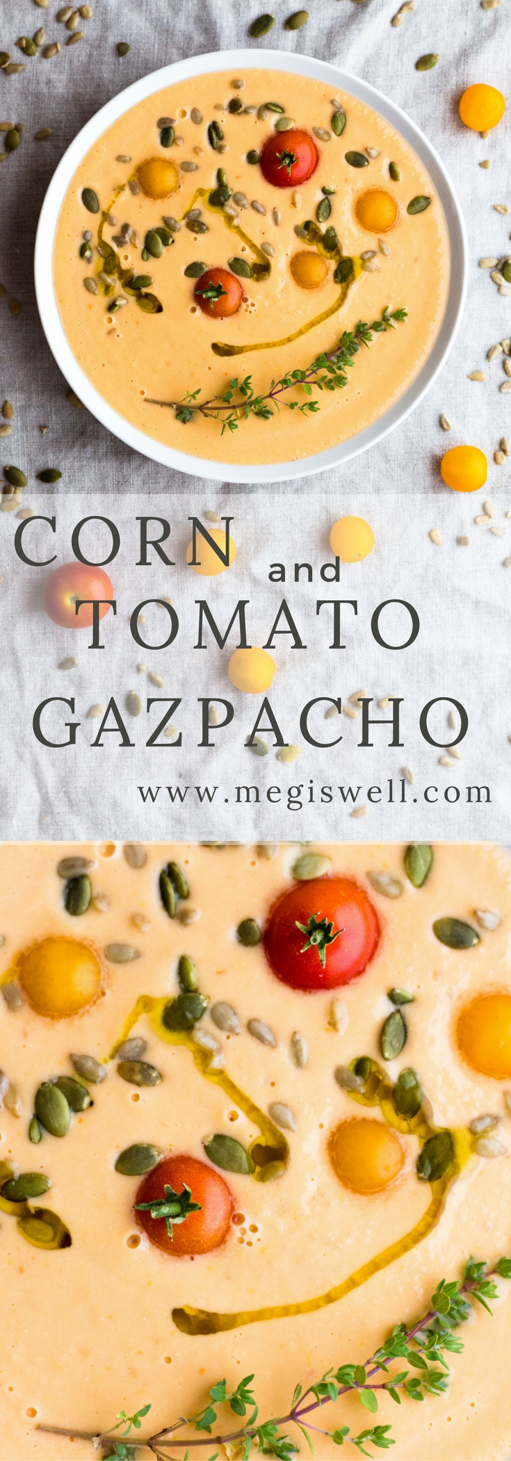 This easy Corn and Tomato Gazpacho is a healthy raw soup perfect for a light dinner on hot summer days. | www.megiswell.com